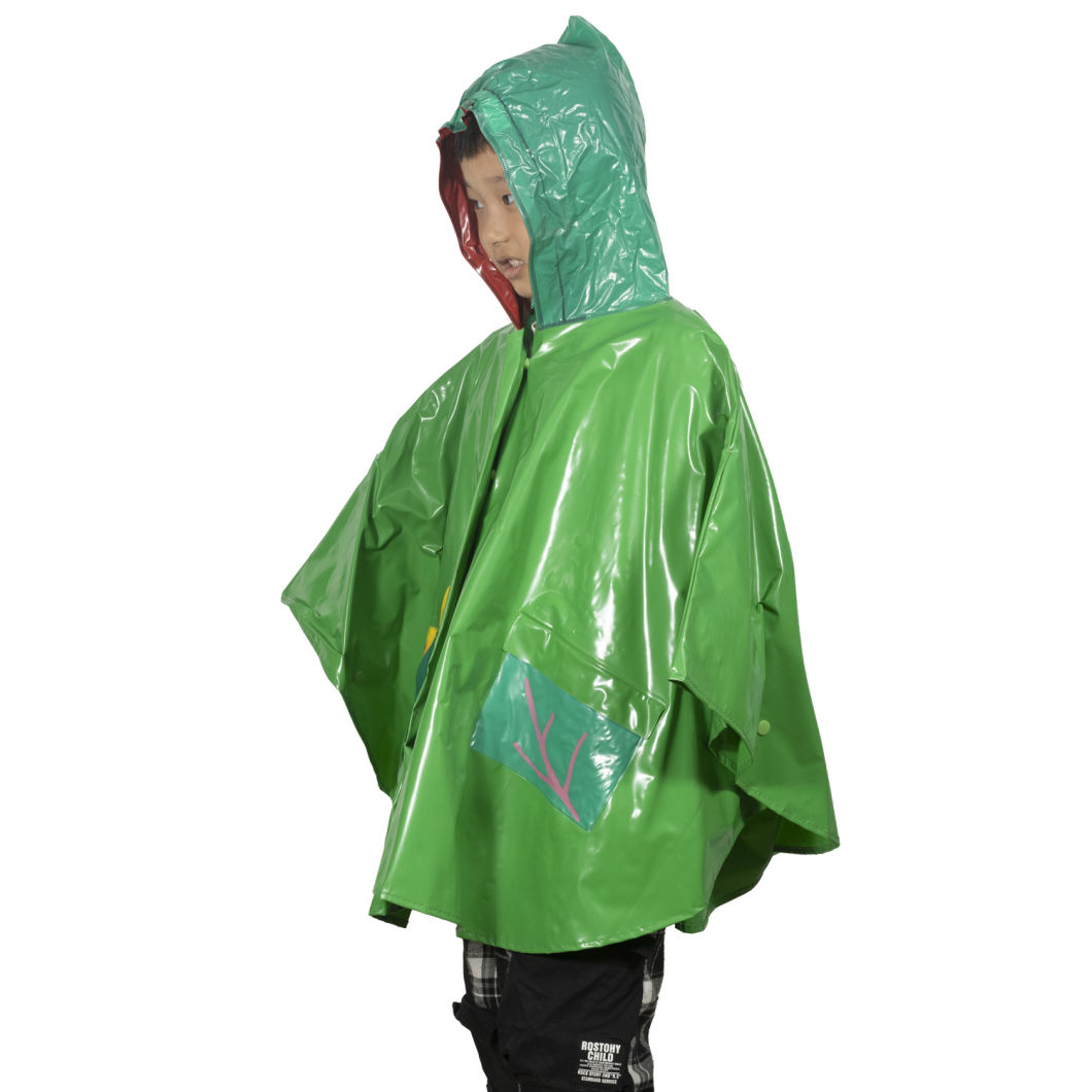 Hot Sale Cheap Kids Poncho Cute Cartoon Pattern Waterproof Children Rain Coat with Hood Poncho Polyester Children Rain Coat